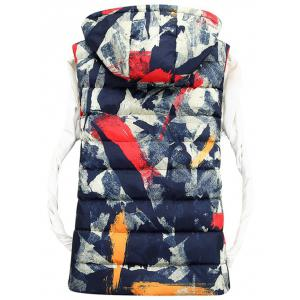 Zip Up Camo Hooded Quilted Vest -