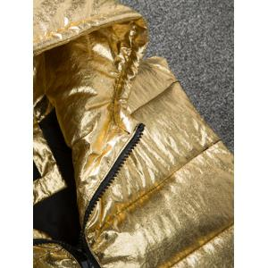 Zip Up Metallic Color Hooded Quilted Vest -