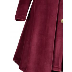 Velvet Asymmetric Plus Size Button Up Hooded Coat -