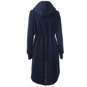 Hooded Drawstring Zip Up Coat -