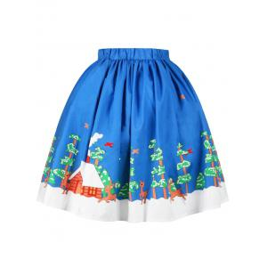 Christmas Tree Butterfly Elk Print Skirt -