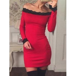 Lace Panel Off The Shoulder Bodycon Dress -