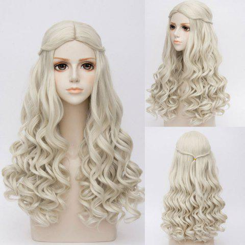 Shop Long Middle Part Wavy Alice in Wonderland White Queen Cosplay Synthetic Wig - GRAY  Mobile