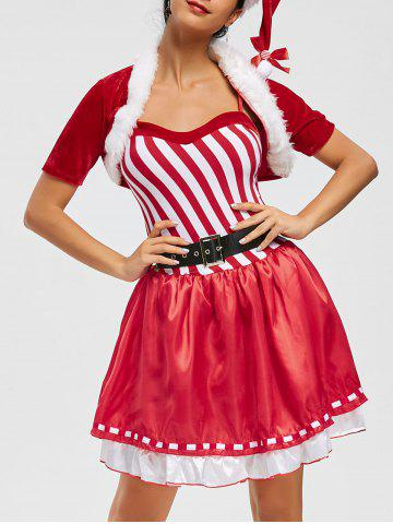 Fancy Christmas Velvet Striped Costume Dress - ONE SIZE RED Mobile