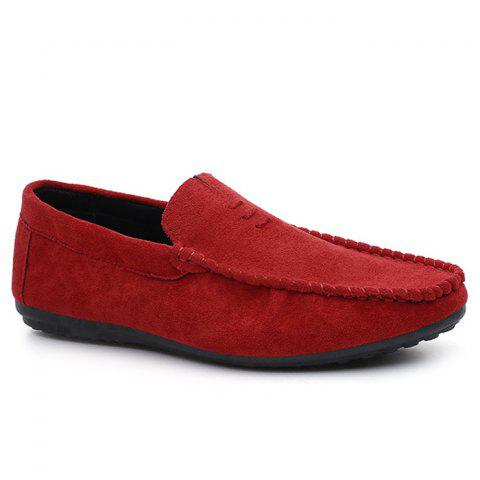 Chaussures Mocassin Soft Sloe Faux Suede Rouge 44
