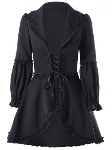 Chic Lapel Collar Ruffle Lace Up Coat