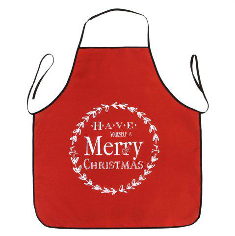 Store Merry Christmas Print Waterproof Kitchen Apron RED 80*70CM