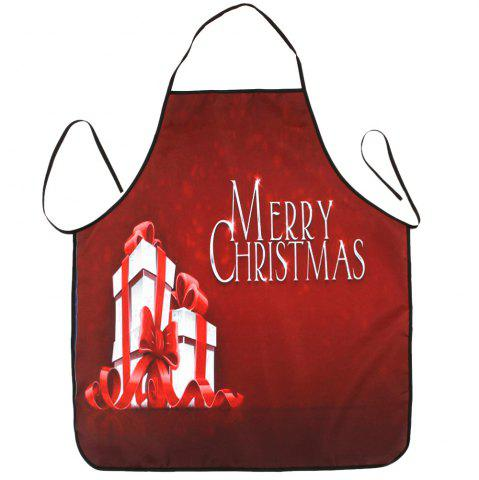 Online Christmas Gifts Print Waterproof Kitchen Apron RED 80*70CM