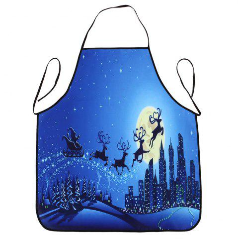 Fashion Christmas Moon City Print Waterproof Cooking Apron - 80*70CM BLUE Mobile
