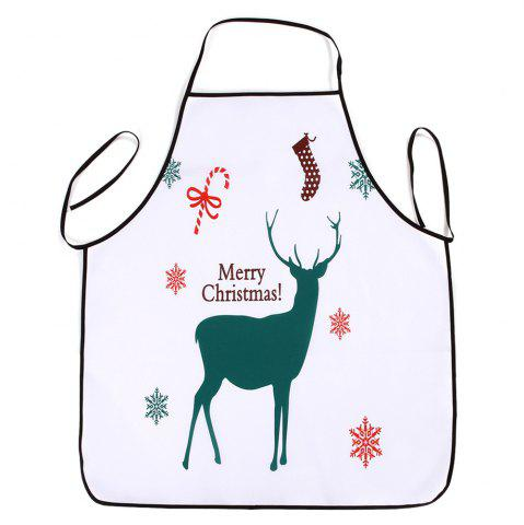 Discount Christmas Deer Print Waterproof Kitchen Apron - 80*70CM WHITE Mobile