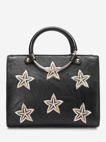 Cheap Round Ring Stars Embroidery Handbag BLACK
