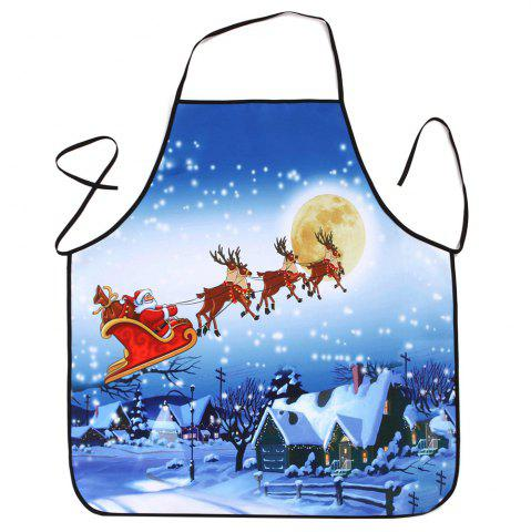 Best Christmas Moon Santa Sleigh Waterproof Kitchen Apron - 80*70CM BLUE Mobile