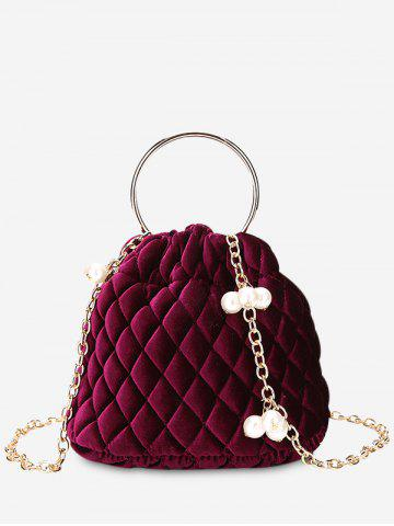 Faux Pearl Stitching Quilt Crossbody Bag Rouge