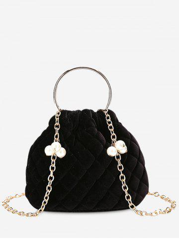 Outfit Faux Pearl Stitching Quilted Crossbody Bag BLACK