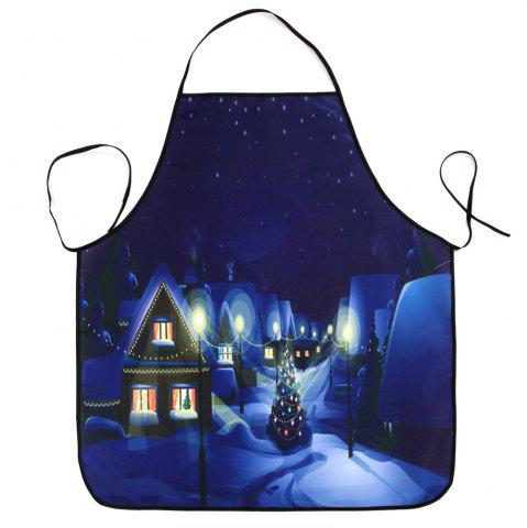 Affordable Village Christmas Night Print Waterproof Kitchen Apron