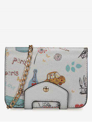 Unique Chain Print Patchwork Crossbody Bag