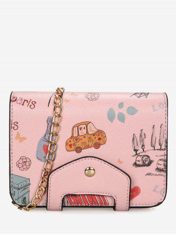 Online Chain Print Patchwork Crossbody Bag PINK
