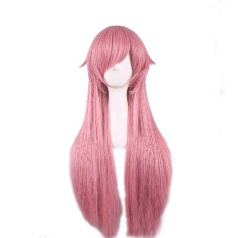 Trendy Long Side Bang Straight Future Diary Yuno Gasai Anime Cosplay Synthetic Wig - PINK  Mobile