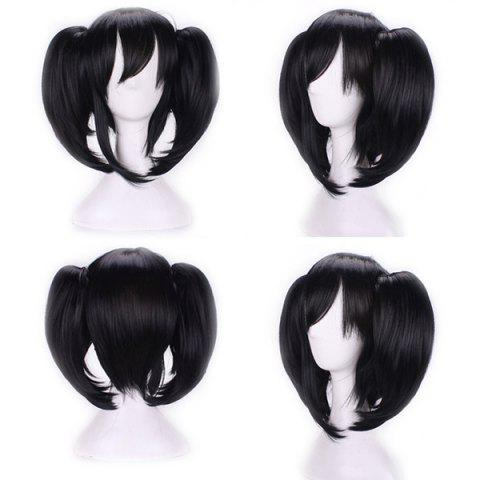 Discount Short Side Bang Pigtail Straight Anime Love Live Yazawa Nico Cosplay Synthetic Wig - BLACK  Mobile