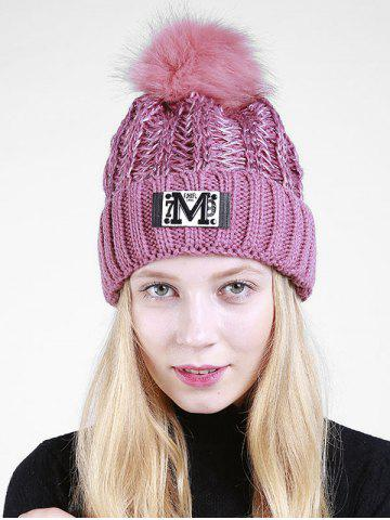 Lettre M Embellished Thicken Knit Pom Beanie Pourpre
