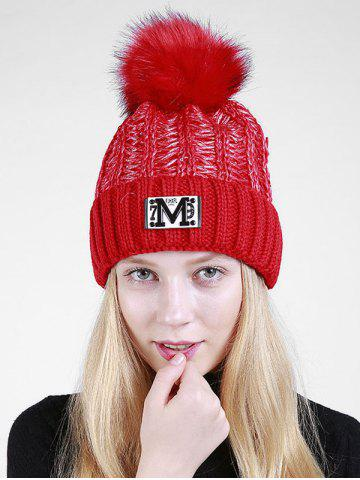 Lettre M Embellished Thicken Knit Pom Beanie Rouge