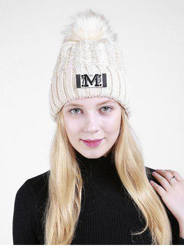 Lettre M Embellished Thicken Knit Pom Beanie