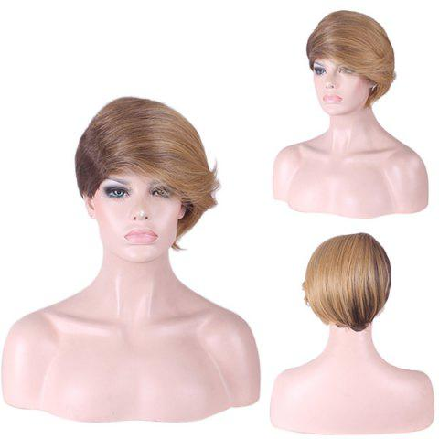 Trendy Short Side Fringe Two Tone Straight Synthetic Wig - COLORMIX  Mobile