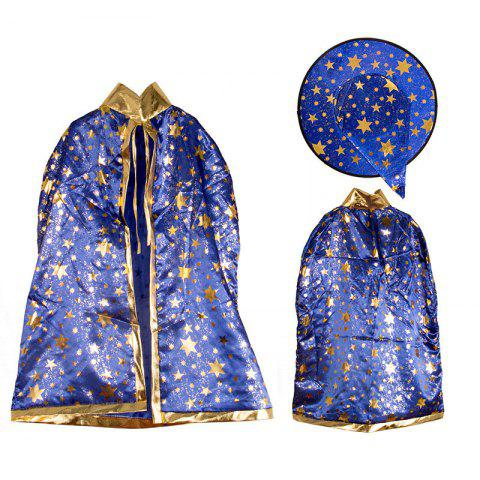 Halloween Party Costume Witch Wizard Stars Cloak and Hat for Children