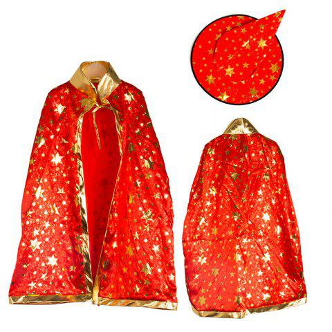 Unique Halloween Party Costume Witch Wizard Stars Cloak and Hat for Children - RED  Mobile