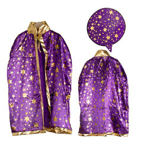 Shop Halloween Party Costume Witch Wizard Stars Cloak and Hat for Children