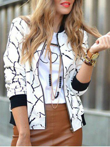 Chic Print Zip Up Jacket - S WHITE Mobile