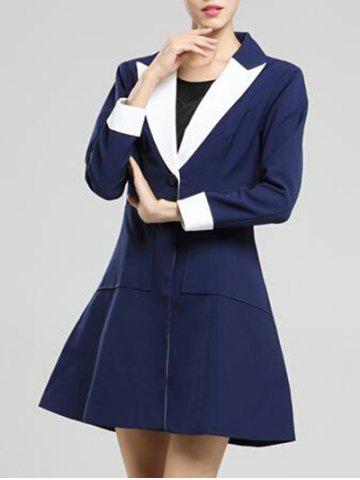 Shop Shawl Collar Skirted Coat - M DEEP BLUE Mobile