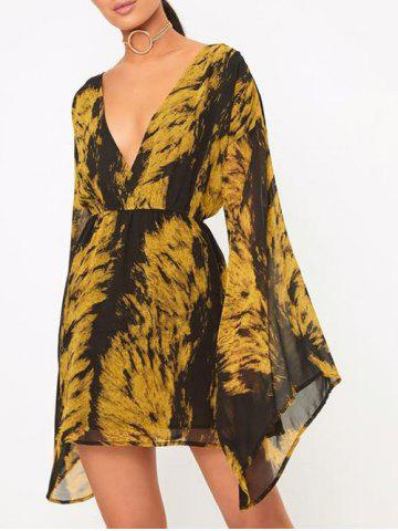 Shop Tie Dye Plunge Flare Sleeve Dress COLORMIX L
