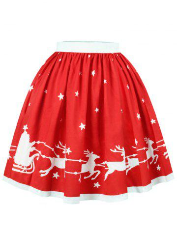 Outfit Christmas Star Elk Print A Line Skirt RED S