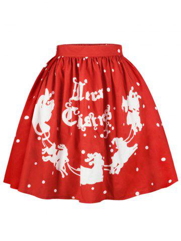 Fashion Christmas Polka Dot Sled A Line Skirt RED XL