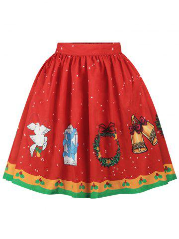Sale Christmas Bell Bird Printed A Line Skirt - L RED Mobile
