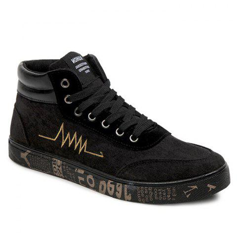 Rosegal Embroidered Graphic Sole High Top Skate Shoes Black Gold 39