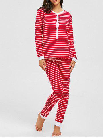Cheap Long Sleeve Christmas Striped PJ Set RED S