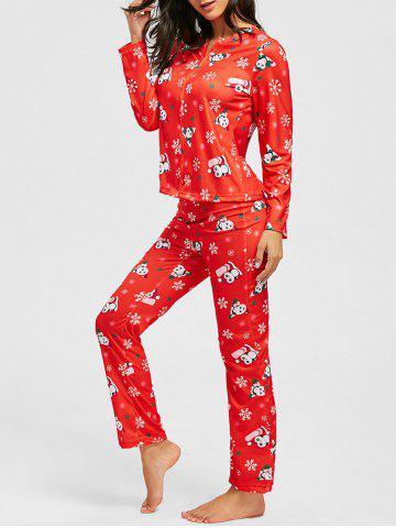 Flocon de neige de Noël Print Zip PJ Set Rouge S