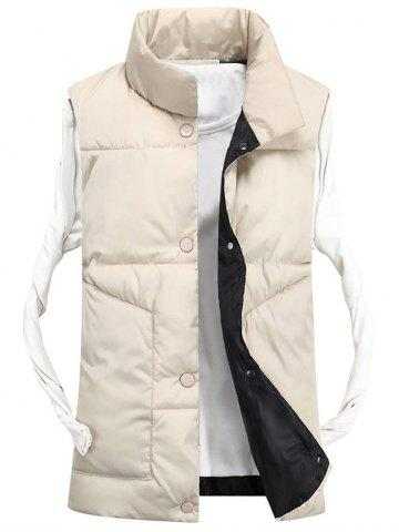 Store Snap Button Funnel Collar Quilted Vest OFF-WHITE 2XL