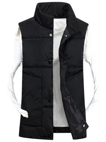 Fashion Snap Button Funnel Collar Quilted Vest BLACK 3XL