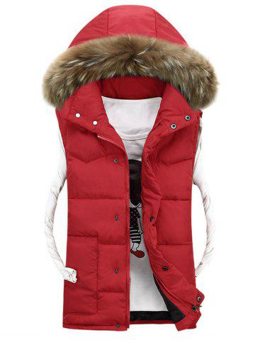Cheap Faux Fur Detachable Hood Quilted Vest - 3XL RED Mobile