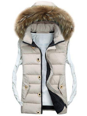 Discount Zip Up Detachable Hood Padded Vest OFF-WHITE 3XL