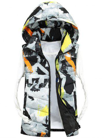 Zip Up Camo Hooded Quilted Vest Blanc 3XL