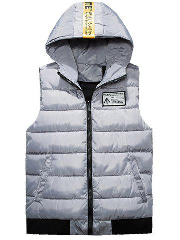 Shop Zip Up Dog Print Quilted Vest - 4XL GRAY Mobile