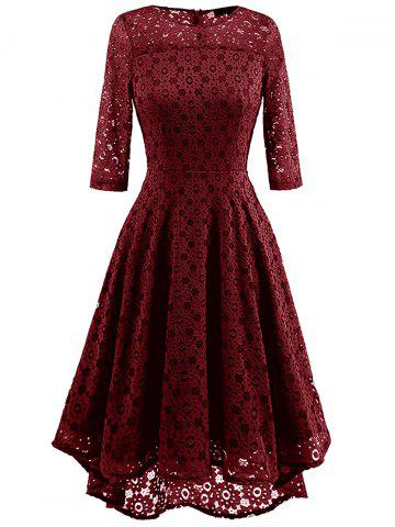 Affordable High Low Lace Crochet A Line Midi Dress WINE RED S