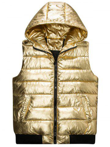 Outfits Zip Up Metallic Color Hooded Quilted Vest - 4XL GOLDEN Mobile