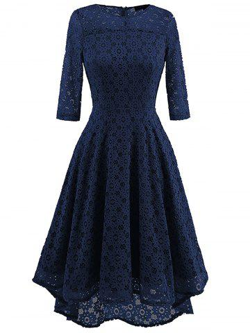 Latest High Low Lace Crochet A Line Midi Dress CERULEAN L