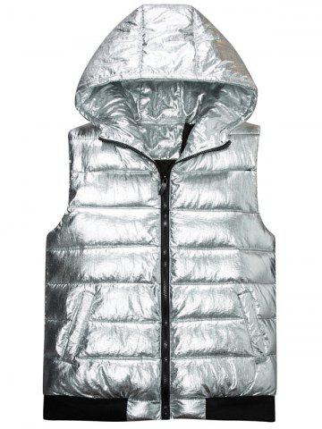 Buy Zip Up Metallic Color Hooded Quilted Vest - 4XL SILVER Mobile
