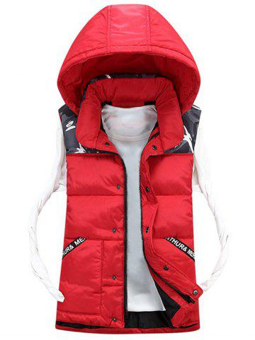 Trendy Detachable Hood Camo Pattern Quilted Vest - 3XL RED Mobile
